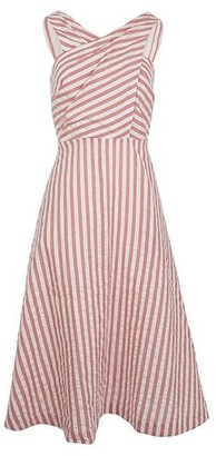 Emily And Fin Pink Stripe Seline Cross Front Midi Dress - 8