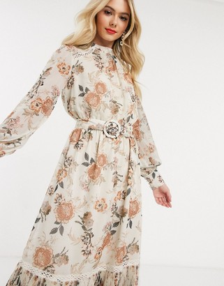 Forever New belted ruffle midi dressin floral jacquard print