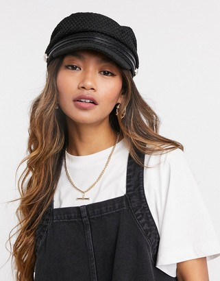 ASOS DESIGN slouchy baker boy in black