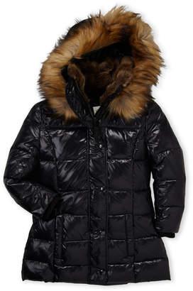 S13 Toddler Girls) Faux Fur Trim Hooded Down Coat