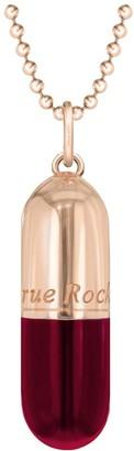True Rocks Small Pill Necklace Rose Gold & Red Enamel