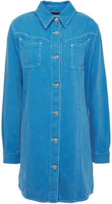 Ganni Krest Washed-denim Mini Shirt Dress