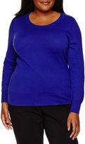 WORTHINGTON Worthington Long Sleeve Crew Neck Pullover Sweater - Plus