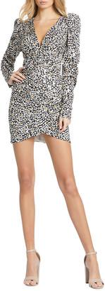 Mac Duggal Cheetah-Print Long Sleeve Mini Dress