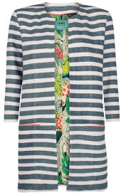 Sass & Edge - Green Stripes By Katja Pom Long Jacket - 1/UK8 - Green/White