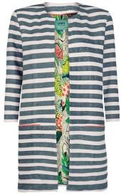 Sass & Edge - Green Stripes By Katja Pom Long Jacket - 2/UK10 - Green/White