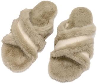 Goodnight Macaroon 'Natalie' Criss Cross Faux Fur Slides (3 Colors)