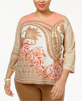 Alfred Dunner Plus Size Just Peachy Collection Embellished Knit Top