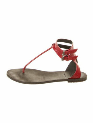 Brunello Cucinelli Embossed Leather T-Strap Sandals Red