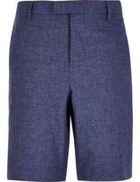 River Island Mens Blue linen bermuda shorts