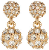 Natasha Accessories Crystal Double Ball Drop Earrings