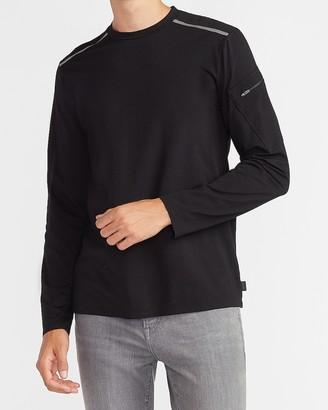 Express Shoulder Stripe Long Sleeve Crew Neck T-Shirt