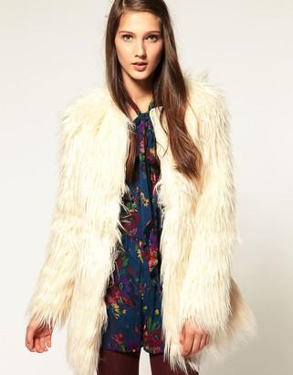 Asos Design Collarless Coat In Shaggy Faux Fur-Cream