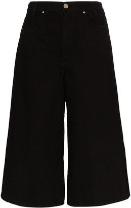 Gold Sign High-Waist Denim Culottes