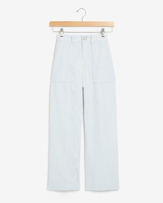 Express Super High Waisted Striped Cropped Wide Leg Pant