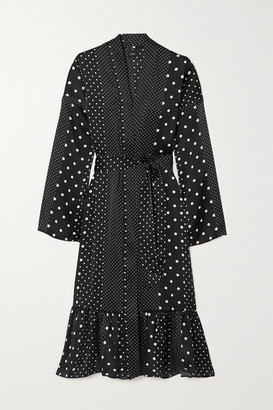ELSE Belted Tiered Polka-dot Silk-satin Robe - Black