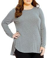 Calvin Klein Plus Hi-Low Shirt Tail Hem Knit Jersey Tunic
