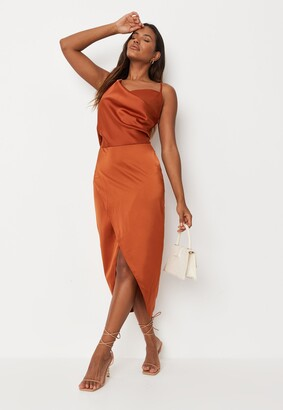Missguided Rust Satin Drape Midi Dress