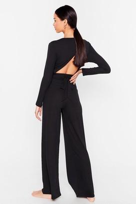Nasty Gal Womens Give It a Tie Wide-Leg Pants Lounge Set - Black