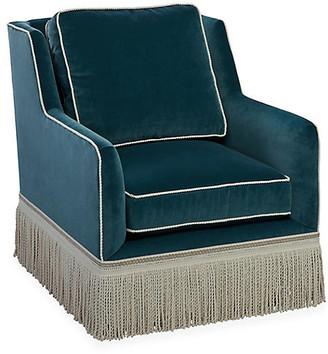 One Kings Lane Portsmouth Club Chair - Teal Velvet