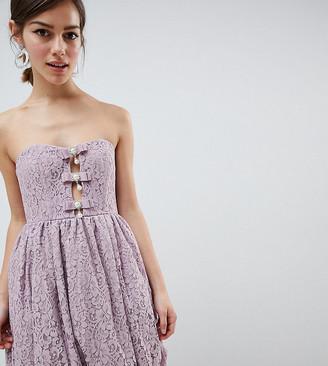 Asos DESIGN PETITE EXCLUSIVE Puff Ball Lace Mini Dress-Multi