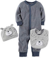 Carter's 3-Pc. Bear Hat, Bib & Striped Coverall Set, Baby Boys (0-24 months)
