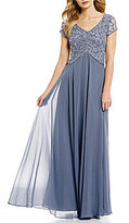 J Kara V-Neck Short Sleeve Beaded Chiffon Gown