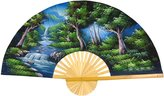 Oriental Furniture Asian Art, Decor and Gifts, 40-Inch Hand Painted Thai Silk and Bamboo Decorative Wall Fan