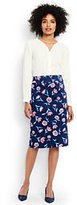 Lands' End Women's Petite Woven Pencil Skirt-Deep Sea Floral