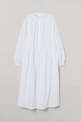 H&M Long-sleeved Cotton Dress - White