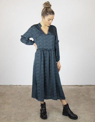 Busby & Fox - Pernille Relaxed Leopard Print Dress - Small | teal - Teal/Teal