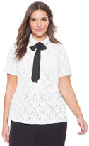 ELOQUII Plus Size Studio Lace with Bow Top