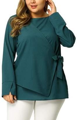 Unique Bargains Women's Plus Size Overlap Blouse Solid 3/4 Sleeve Tie Popover Top 1X