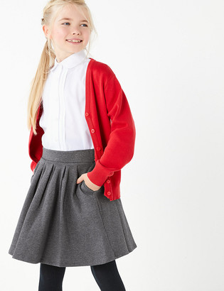 Marks and Spencer Girls' Cotton Rich Pleated Knitted Skirt