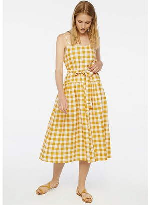 Compania Fantastica Checked Cotton Buttoned Dress with Tie Belt