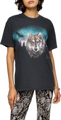 Topshop Night Wolf Tee