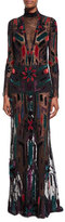 Roberto Cavalli Long-Sleeve Illusion Gown, Black Pattern