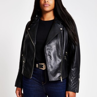 River Island Womens Plus Black leather biker jacket