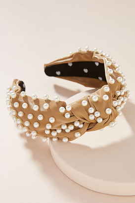 Lele Sadoughi Faux Leather Pearl Knotted Headband By in Beige Size ALL