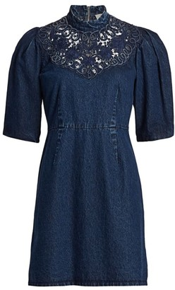 Sea Olivia Soutach Trim Denim Mini Dress
