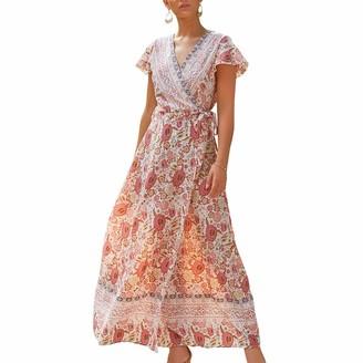 Dencalleus Women's Floral Maxi Dresses Split Short Sleeve Waist Tie Loose Casual Summer Wrap V-Neck Boho Style Beach Party Long Dress Beige