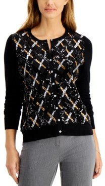 Charter Club Sequined Argyle Cardigan, Regular & Petite Sizes, Created for Macy's
