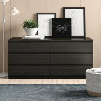 "Zipcode Designâ""¢ Kepner 6 Drawer Double Dresser Zipcode Designa Color: Black Wood Grain"
