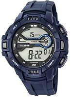 Calypso Men's Digital Watch with LCD Dial Digital Display and Blue Plastic Strap K5695/2