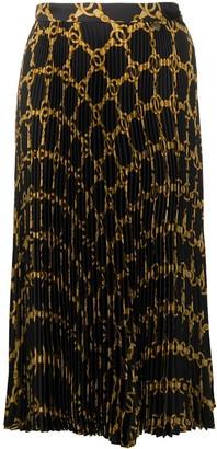 Twin-Set Chain Print Pleated Skirt