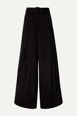 Dries Van Noten Podium Belted Satin-crepe Wide-leg Pants - Black
