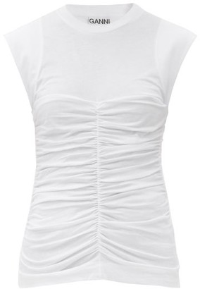 Ganni Ruched Organic-cotton Jersey T-shirt - White