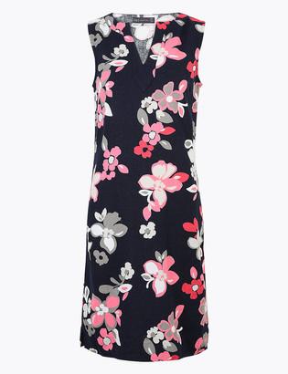 Marks and Spencer Linen Floral Knee Length Shift Dress