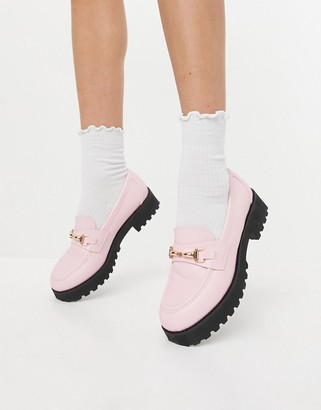 Raid Empire chunky loafers with gold snaffle in pastel pink