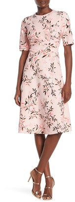 Maggy London Printed Ruche Fit & Flare Midi Dress